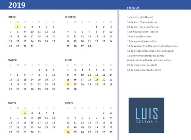 Fiestas laborales 2019 en Cataluña